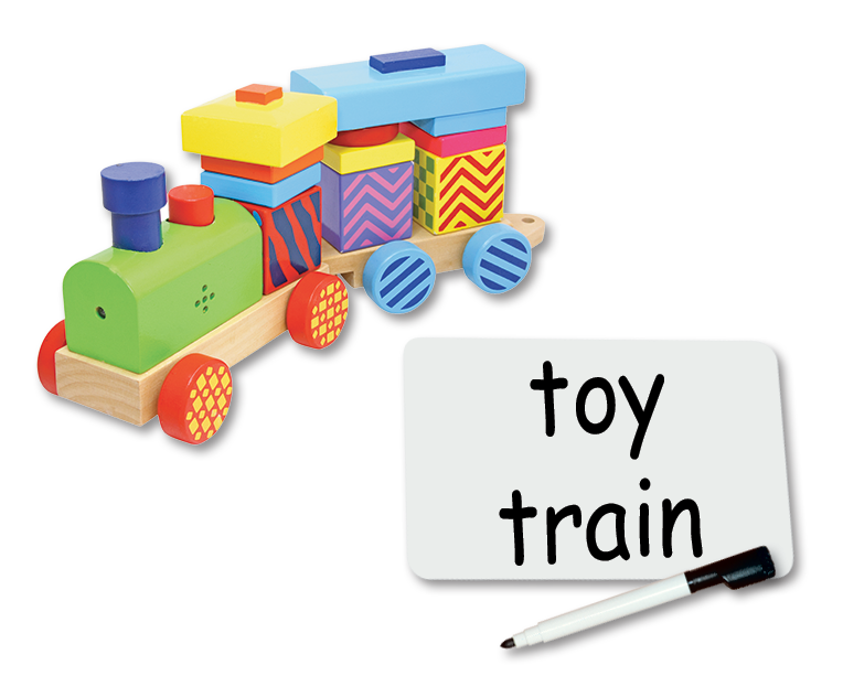 A toy train and a blank Sliding Word Card with the words