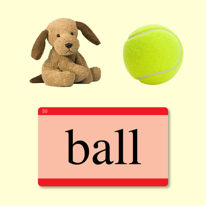 Play word games such as this! Ask children to match words with objects.